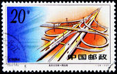 A stamp printed in China shows an intersection of roads — Stock Photo