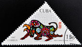 A stamp printed in Cuba shows ox commemoration of the Chinese Lunar Year — Stock Photo