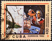CUBA - CIRCA 1982: A stamp printed in Cuba shown Cristobal Colon in commemoration of the discovery of america — Stock Photo
