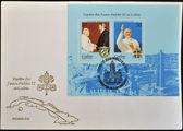 CUBA - CIRCA 1998: A stamp printed in Cuba shows Fidel Castro and pope John Paul II, circa 1998 — Stockfoto