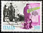 ITALY - CIRCA 1988: A stamp printed in Italy dedicated neorealist cinema shows a scene from the movie obsession of Luchino Visconti, circa 1988 — Stock Photo