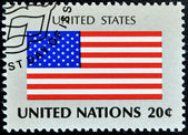 UNITED NATIONS - CIRCA 1981: A stamp printed by United Nations shows flag united states os america, circa 1981 — Stock Photo