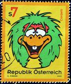 AUSTRIA - CIRCA 2000: A stamp printed in Austria shows cartoon image of confetti, circa 2000 — Stock Photo