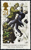 Stamp shows Sherlock Holmes and Moriarty — Stock Photo