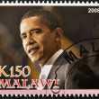 Stamp shows Barack Obama - Stock Photo
