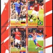 Stamp shows top football players of the world - 
