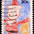 UNITED STATES - CIRCA 1980 : A stamp printed in United States. A child drawing of Santa Claus. United States - CIRCA 1980 - Foto de Stock  