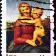 USA - CIRCA 1973 : A stamp printed in the USA shows Christmas: Raphael - National Gallery of Art, circa 1973 - Foto de Stock  