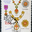 Постер, плакат: ANGOLA CIRCA 1960: A stamp printed in Angola Portuguese dependency shows various emblems of the military order of Santiago de la Espada circa 1960