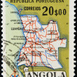 ANGOLA – 1954: A stamp printed in Angola by the Portuguese administration showing the map of Angola, circa 1954 — Stock Photo