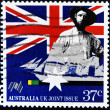 AUSTRALIA - CIRCA 1988: A stamp printed in Australia shows Early settler and sailing clipper, Australia UK Joint Issue, circa 1988 - Stock Photo