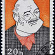 Foto Stock: Stamp shows portrait of Americwriter Ernest Miller Hemingway