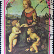 Royalty-Free Stock Photo: Stamp shows the Madonna of the Meadow, painting created by Raphael