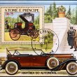 Stock Photo: Stamp shows car in reference to history of automobile