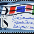 Stamp shows Stamped Cover, 6th International Philately Exhibition — Stock Photo #7378717