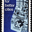 Stamp shows the plan for cities with a giant computer — Stock Photo