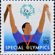 Stamp shows image celebrating the Special Olympics — Stock Photo