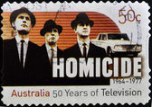 AUSTRALIA - CIRCA 2006: A stamp printed in Australia shows frame from the movie Homicide, circa 2006 — Stock Photo