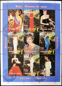 BURKINA FASO - CIRCA 1997: A stamp printed in Burkina Faso shows different images of Diana of Gales, serie, circa 1997 — Stock Photo