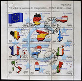 SPAIN - CIRCA 1999: A stamp printed in Spain shows flags of different countries of the European Union, serie, circa 1999 — Stock Photo