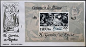 "SPAIN - CIRCA 1981: A stamp printed in Spain shows painting by Pablo Picasso ""Guernica"", first day of issue, circa 1981 — Stock Photo"