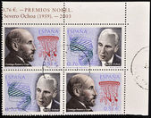 SPAIN - CIRCA 2003: A stamp printed in Spain shows Nobel Award Santiago Ramon y Cajal and Severo Ochoa, circa 2003 — Stock Photo