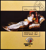 GUINEA BISSAU - CIRCA 1984: A stamp printed in Guinea Bissau shows The Clothed Maja by Francisco de Goya, circa 1984 — Stock Photo