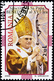 戳显示教皇本笃十六世 — 图库照片