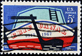 UNITED STATES - CIRCA 1967: A stamp printed by United states, shows Stern of Early Canal Boat, circa 1967 — Stock Photo