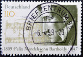 GERMANY- CIRCA 1997: stamp printed by Germany, shows Felix Mendelssohn-Bartholdy, Composer, circa 1997. — Stock Photo