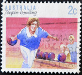 AUSTRALIA - CIRCA 1989: A stamp printed in Australia shows Tenpin bowling, circa 1989 — Stock Photo