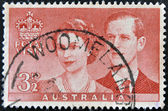 AUSTRALIA - CIRCA 1954: A stamp printed in Australia commemorating the royal visit of the kings of England, circa 1954 — Stock Photo