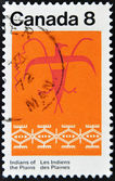 CANADA - CIRCA 1972: stamp printed by Canada, shows Thunderbird Assiniboin Pattern, circa 1972 — Stock Photo