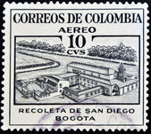 A stamp printed in Colombia shows Recoleta de San Diego — Stock Photo