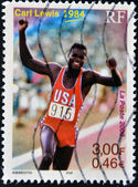 Stamp shows Carl Lewis — Stock Photo