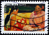 "Stamp shows the painting ""Tahitian Beach"" by Paul Gauguin — Stock Photo"