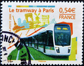 Stamp shows tram to Paris — Stock Photo