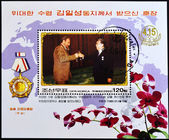 Stamp shows the president of north korea providing Fidel Castro — Stock Photo