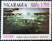 Pieczęć pokazuje luis a. park velazquez w managui, — Zdjęcie stockowe
