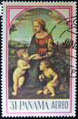 Stamp shows the Madonna of the Meadow, painting created by Raphael — Stock Photo