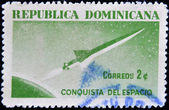 Stamp shows conquest of space — Stock Photo