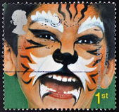 Stamp is dedicated to painted faces of children, Tiger — Stock Photo