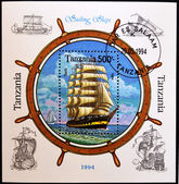Stamp shows sailing ships — Stock Photo