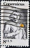 Stamp shows image portrait Nicolaus Copernicus — Stock Photo