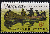 Stamp shows Marquette and Louis Jolliet explorers of the Mississippi — Stock Photo
