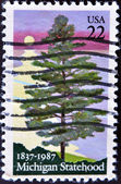 A stamp honoring 100 years of Michigan Statehood — Foto Stock