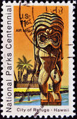 Stamp shows National Park on Hawaii - City of Refuge — Stock Photo