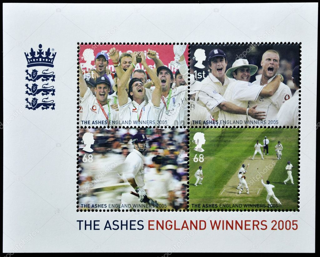UNITED KINGDOM - CIRCA 2005: A stamp printed in Great Britain shows england cricket winners 2005  — Stock Photo #7377684