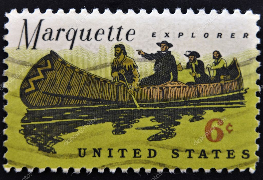 USA - CIRCA 1968: A stamp printed in the United States of America shows Father Jacques Marquette and Louis Jolliet explorers of the Mississippi — Stock Photo #7378791