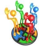 Teamwork Puzzle Solution — Stock Photo